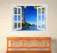 Fereastra cu efect 3D - Turnul Eiffel - 119x93 cm