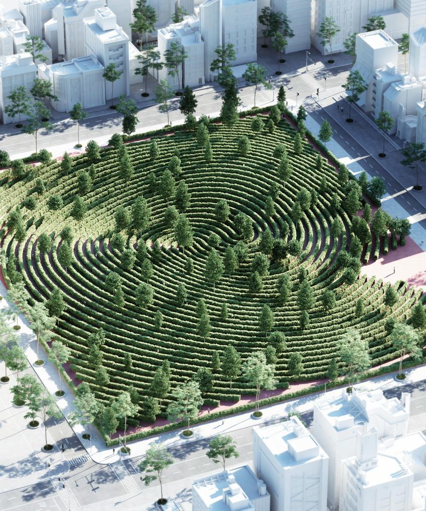 Un parc ca un labirint pentru plimbări în vreme de pandemie