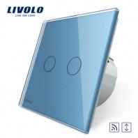Intrerupator draperie, wireless, cu touch Livolo din sticla - VL-C702WR