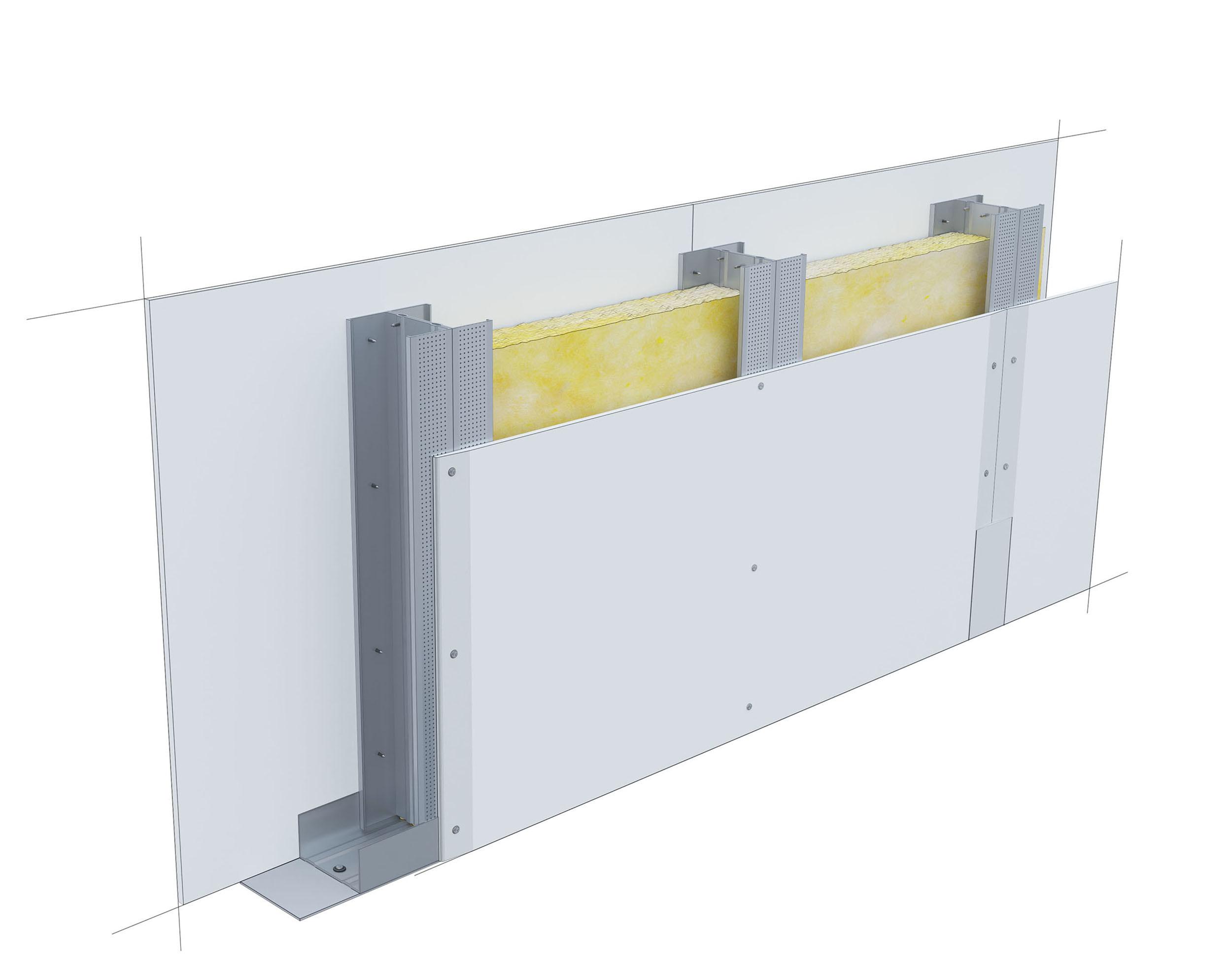 Perete D100, CW75-H@60, 2x1 Standard 12.5 + MW