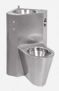 Combinatie de lavoar si vas WC din otel inox cu butoane piezo - SANELA SLWN 08PP