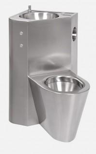 Combinatie de lavoar si vas WC din otel inox cu butoane piezo - SANELA SLWN 18ZLP