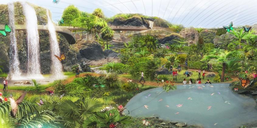Vei uita de lumea exterioară în cel mai mare biodom tropical din lume construit în nordul