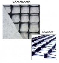 Georetea rectangulara cu profil inalt si geotextile