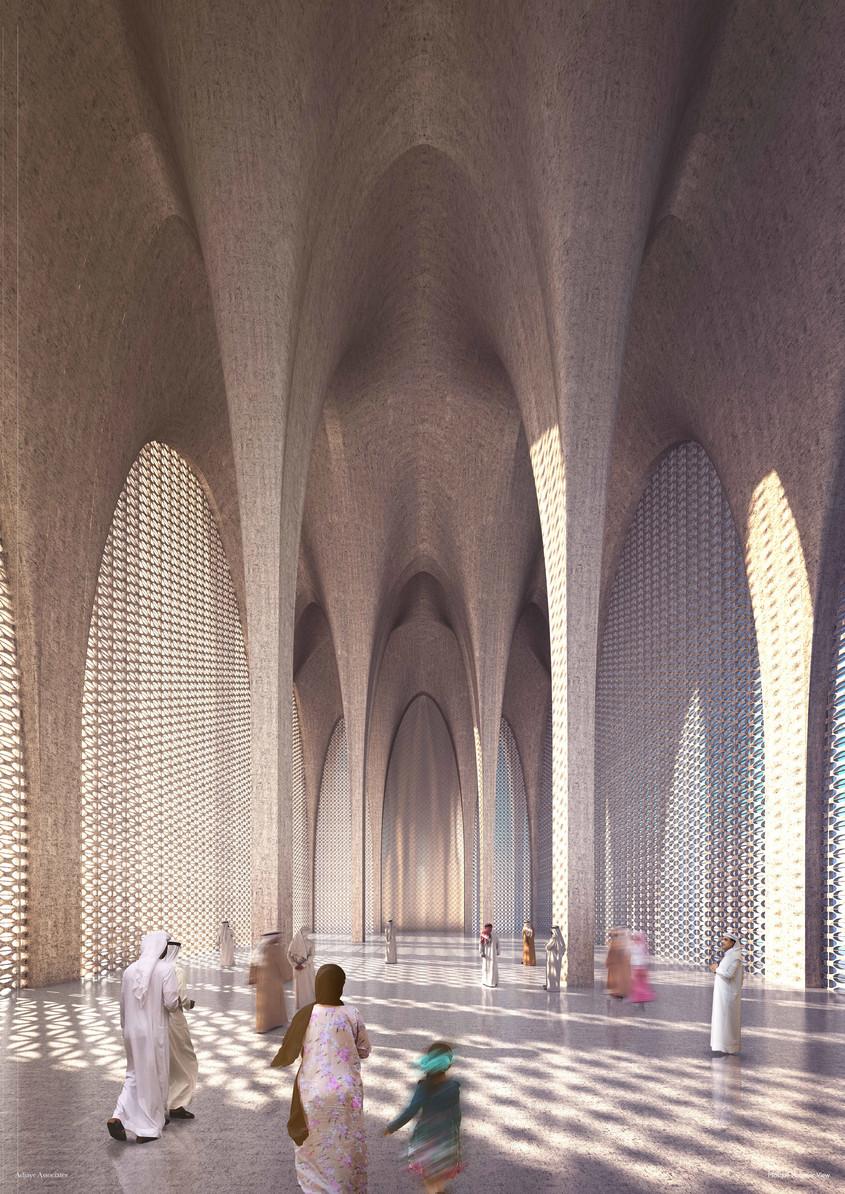 Randare a interiorului moscheii