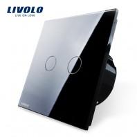 Intrerupator dublu cu touch Livolo din sticla - VL-C702