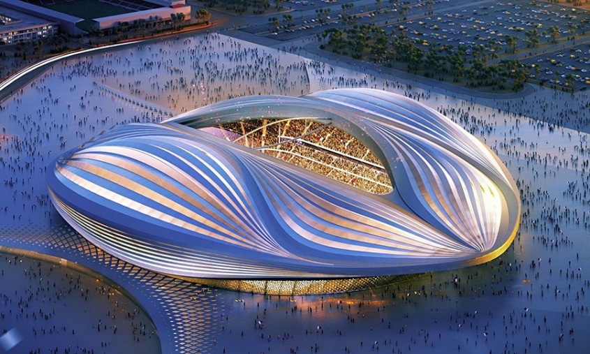 """Stadionul Al Wakrah, Qatar  <p>Printre proiectele arhitecturale aflate zilele acestea in desfasurare in Qatar, tara ca va gazdui Cupa Mondiala din 2020, se remarca stadionul construit in Al Wakrah, care este una dintre ultimele lucrari ale arhitectei Zaha Hadid. Cu o capacitate de 40.000 de locuri, stadionul, pe care se vor juca meciurile din semifinale, se afla intr-o faza avansata a constructiei, inaugurarea fiind asteptata<span style=""""font-size: inherit;"""" _mce_style=""""font-size: inherit;"""">anul acesta.</span></p>"""