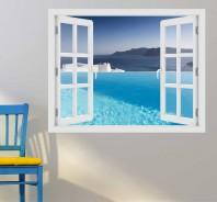 Fereastra cu efect 3D - Piscina cu vedere la marea Egee - 119x93 cm
