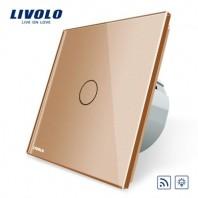 Intrerupator wireless cu variator, cu touch Livolo din sticla - VL-C701DR