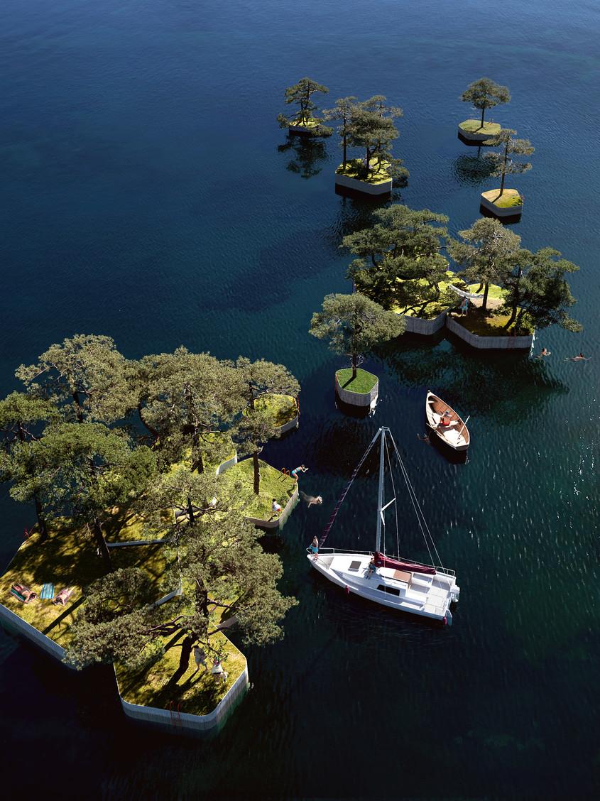 """Un """"arhipelag"""" de parcuri plutitoare, construit într-o capitală europeană"""