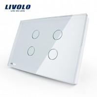 Intrerupator cvadruplu cu touch Livolo din sticla - standard italian - VL-C304