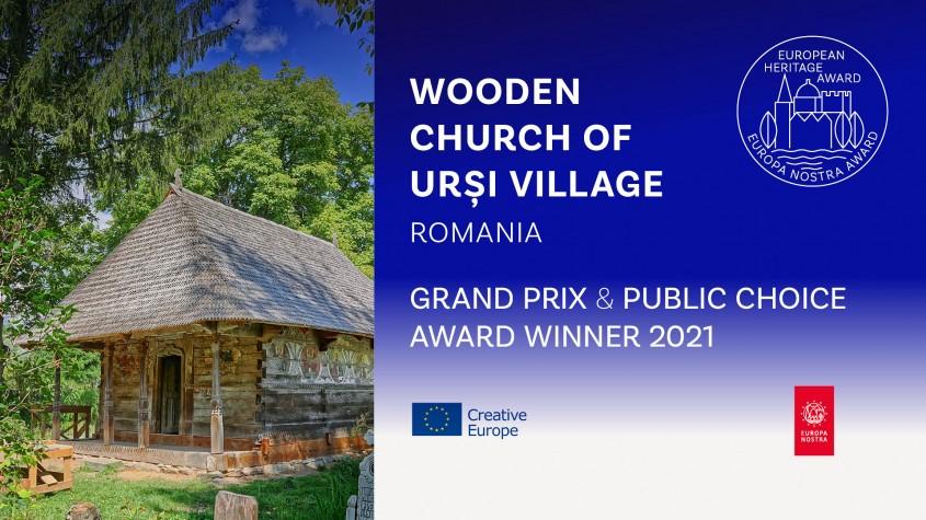 Biserica de lemn din satul Urși este marele câștigător al Premiilor Europene pentru Patrimoniu 2021