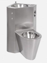 Combinatie de lavoar si vas WC din otel inox cu butoane piezo - SANELA SLWN 08LP