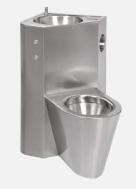 Combinatie de lavoar si vas WC din otel inox cu butoane piezo - SANELA SLWN 18ZPP