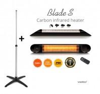 Incalzitor cu stand Veito BLADE S 2,5 KW, electric, infrarosu, terasa, interior-exterior, fibra carbon, aluminiu