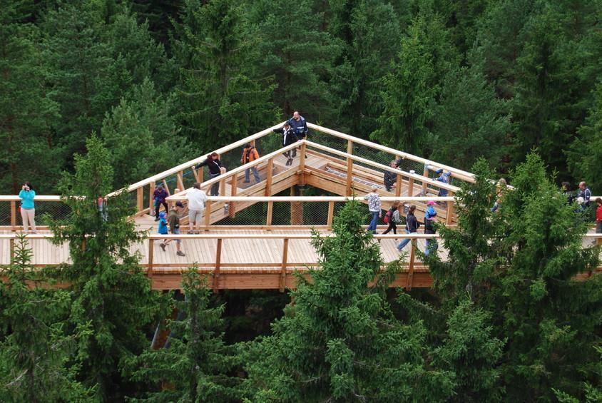 Lipno nad Vltavou, Cehia Structura din lemn lunga de 675 de metri te poarta pana la 40 de metri