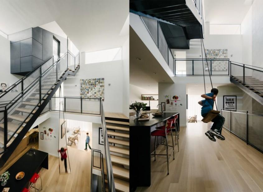 Locuință urbană compactă pentru o familie cu copii, cu acoperiș verde