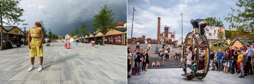 Pavelele Elis Pavaje creează un joc vizual în Piața Habermann din Sibiu