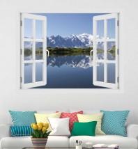 Fereastra cu efect 3D - Masivul Mont Blanc - 119x93 cm