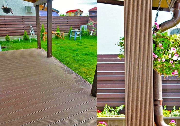 Pardoseală terasă realizată din profile WPC Bencomp  / Stâlp îmbrăcat în profile WPC Bencomp