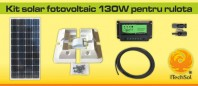 Kit solar fotovoltaic 130W pentru rulota - KIT130W12VRUL