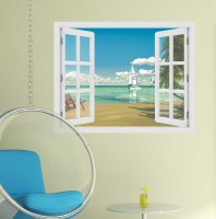 Fereastra cu efect 3D - Plaja tropicala - 119x93 cm