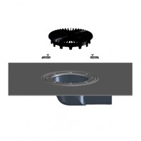 Corp sifon orizontal pentru balcon si terasa DN75 cu manseta din bitum - HL5100THK