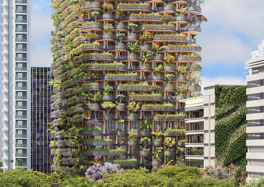 O clădire ca o extensie a naturii Construită din lemn şi îmbracată în zeci de mii