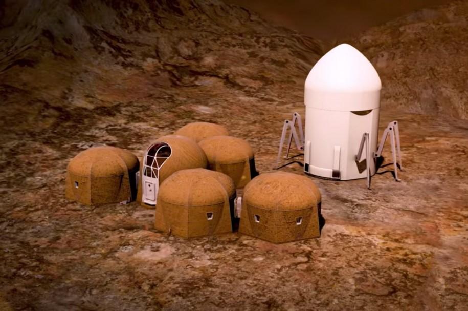 <p>Echipa Zopherus s-a clasat prima intre cei cinci finalisti, propunand construirea unor structuri din materialele disponibile pe suprafata planetei Marte, fara interventia factorului uman. Landerul urias de mai sus care ar urma sa se ocupe de operatiunea de imprimare.</p>