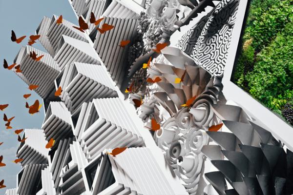 O clădire îmbrăcată în fluturi