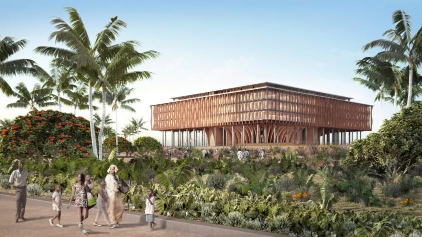 """Clădirea Parlamentului din Benin, un """"arbore"""" falnic ce evocă tradiţiile ţării"""