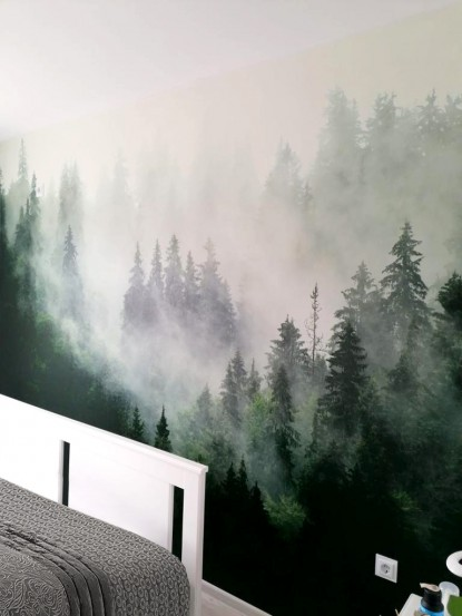 Detaliu fototapet - Padure in ceata  Bucuresti TOP RESERVE BUSINESS