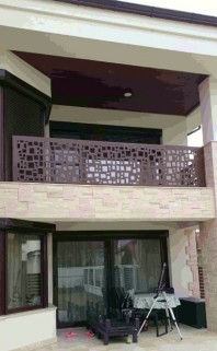 Balustrada ornamentala de exterior din material HPL - Model patrate