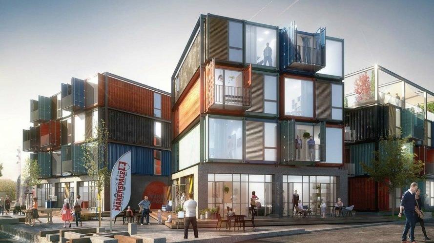 """<b>9. Beat Box, un bloc de apartamente in Roskilde, Danemarca</b> <p style=""""text-align: left;"""">Complexul va fi compus din 48 de containere, fiecare a cate 30 de metri patrati, care impreuna vor forma 30 de apartamente. Este construit de biroul danez Arkitema impreuna cu Container Living.</p> <p style=""""text-align: left;""""></p> <p style=""""text-align: center;""""><em>Foto:<a target=""""_blank"""" href=""""https://arkitema.com/da/presse"""">Arkitema</a></em></p>"""