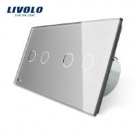 Intrerupator dublu + dublu cu touch Livolo din sticla - VL-C702/C702