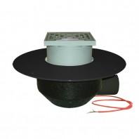 Receptor pentru acoperis cu scurgere orizontala cu guler din PP element incalzire si gratar pentru trafic