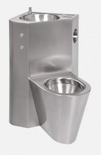 Combinatie de lavoar si vas WC din otel inox cu butoane piezo - SANELA SLWN 08ZLP