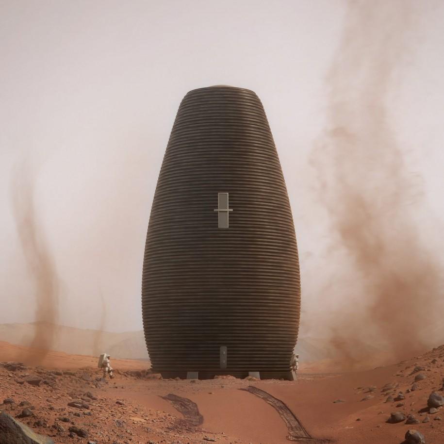 Cei de la AI SpaceFactory, echipa de pe locul al doilea, propun o structura cilindrica, care utilizeaza in mod eficient spatiul, fiind in acelasi timp pretabila la imprimarea 3D.