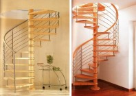 Scari in spirala cu trepte din lemn masiv si balustrada din inox, lemn - INOX DESIGN