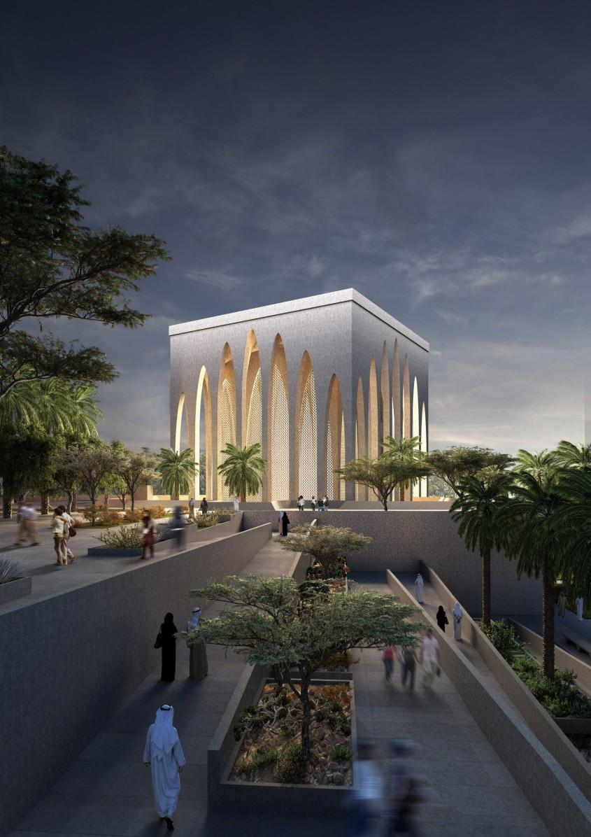 Randare a exteriorului moscheii