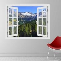 Fereastra cu efect 3D - Munti din Colorado toamna - 119x93 cm
