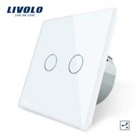 Intrerupator dublu cap scara / cap cruce, cu touch Livolo din sticla - VL-C702S