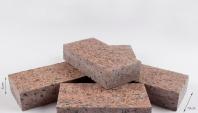 Piatra Cubica Granit Maple Red Fiamata cu 4 laterale fatetate 10 x 20 x 5 cm