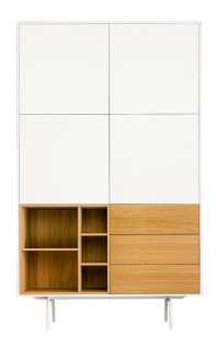 Dulap dormitor, alb mat, cu trei sertare - More Space for Nature