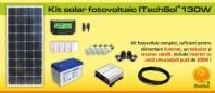 Kit (sistem) solar fotovoltaic ITechSol® 150W pentru iluminat - KIT130WM12VINV30