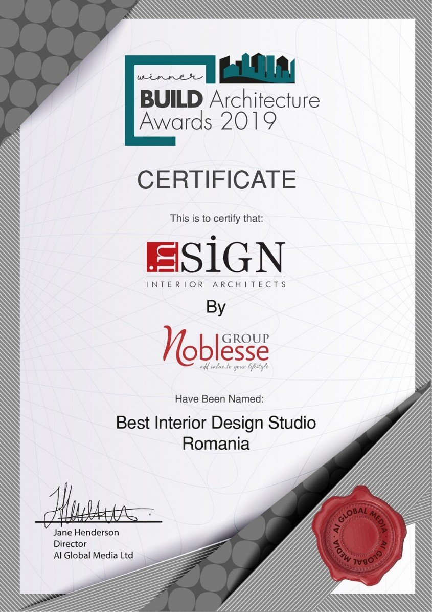 "inSIGN by Noblesse Group International a fost desemnat ""Best Interior Design Studio in Romania"""
