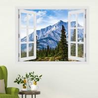 Fereastra cu efect 3D - Munti in Alberta, Canada - 119x93 cm