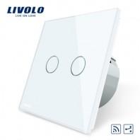Intrerupator dublu, cap scara / cap cruce, wireless Livolo din sticla - VL-C702SR