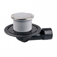 Sifon de pardoseala DN50 75 cu articulatie cu obturator de mirosuri suport gratar rotund - HL80