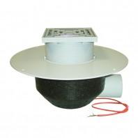 Receptor cu scurgere orizontala pentru acoperis cu guler din PP incalzire si gratar pentru trafic -